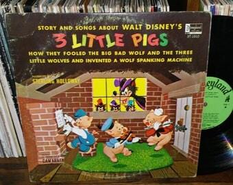 Walt Disney's Three Little Pigs Vintage Vinyl Record