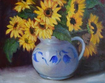 Sunflower Still Life,Sunflower Bouquet In Blue And White Pitcher,Original Oil Painting On Canvas by Cheri Wollenberg