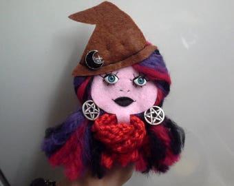 Felt Brooch Portrait Art Doll Amethyst and Ruby Witch