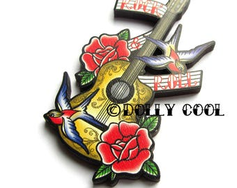 Rock & Roll Guitar Brooch by Dolly Cool Tattoo art 40s 50s Reproduction Vintage Style Wooden Novelty Pin