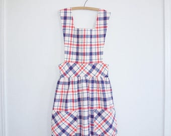 SALE // Vintage Blue, White and Red Plaid Dress