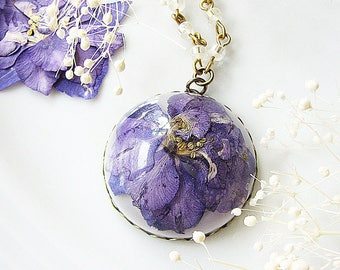 Resin Jewelry Real Flower Necklace Pressed Flower Jewelry Purple Larkspur Necklace Beaded Necklace Gift For Her