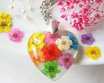 Resin Jewelry Heart Necklace Resin Necklace Real Flower Jewelry Real Flower Necklace Rainbow Necklace Gift For Her