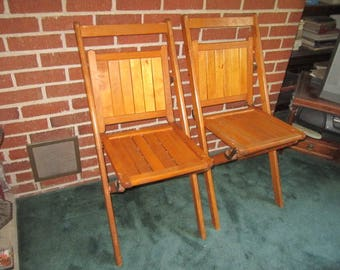 Antique Sturdy PAIR of Matching Wood Folding Chairs Lot No.1