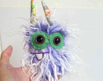 Mini Monster Plush - Handmade Minor Monster Plushie - Purple Faux Fur - OOAK Monster - Small Monster Plushie - Small Weird Monster Soft Toy