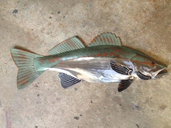 Walleye metal fish 26in Handmade Art wall sculpture Lake Cabin Cottage