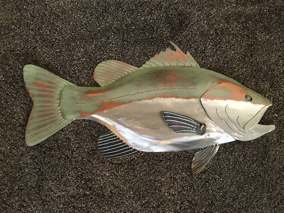 Largemouth Bass Metal Wall  Sculpture 24in Lodge Cottage Cabin Lake Art