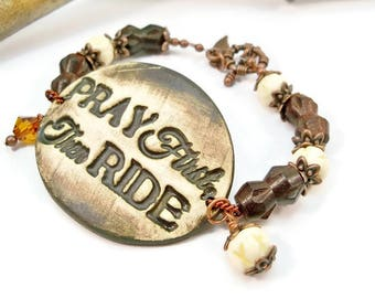 Country Western Jewelry, Rodeo Bracelet, Cowgirl Bracelet, Ceramic Cuff Bracelet, Cowgirl Up, Western Cowgirl Jewelry, Gift for Her
