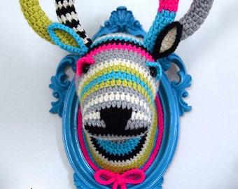 Faux Deer Head, Crochet Taxidermy, Crochet Deer, Amigurumi Deer - Crochet Deer Head in a Blue Frame by Manafka Mina