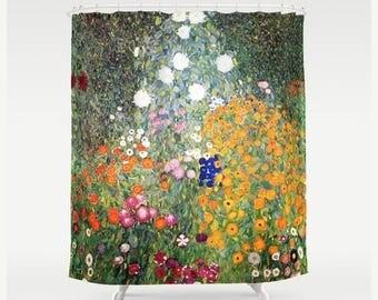 ON SALE Gustav Klimt Flower Garden Shower Curtain, Romantic Home Decor, Fantasy Bathroom Decor Floral