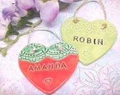 Personalized Name Pottery Heart Ornament | Valentine Gift | Children's Birthday Gift | Made to Order