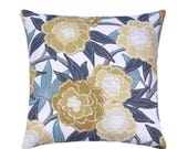 Blue Peony Floral Throw Pillow, Designer STUFFED Pillow, Flowers Blossoms Vines Leaves Pillow in Grey Golden Yellow Blue Dew Free Ship