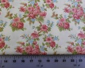 Cotton Fabric   -  CLEARANCE SALE! - Nature's Chorus by April Cornell for Moda Pink Floral on Cream- 35103 11 - 4 Yards