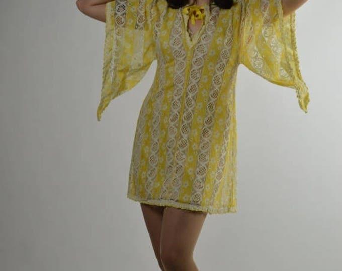 sale Pin Up Dress, Vintage Dress, Bathing Suit Cover Up, Lace Dress, 60s Swimwear, Sheer  Dress, Go Go Dress,  Mini Dress, 60s Costume