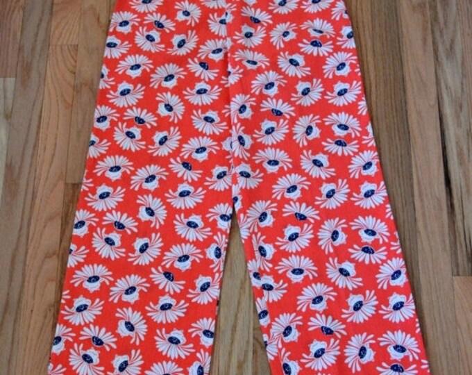 sale Preppy Vintage Pants, Frog Print Pants, Novelty Print, High Waist Pants, Watermelon Color, Size Medium, Ankle Length, Cotton, Vintage P