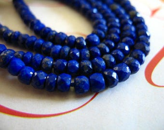 Shop Sale.. LAPIS Rondelles Beads, Luxe AAA, 3 mm, 1/2 Strand, September birthstone, pyrite inclusions, brides bridal jj