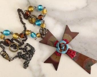 "Handmade Artisan One of Kind Metal Cross Pendant Necklace Vintage Beads 25"""