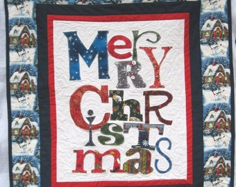 Summer Sale Merry Christmas Quilted Wall hanging Wall art holiday decoration Quiltsy  handmade