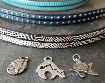 30% OFF CIJ Leather Cuff Bracelet, Artisan Jewelry, Multi Strand Bracelet, Stacking Bracelet, Rustic Handcrafted, Artisan Silver Charms, Urb