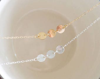 Hammered Circle Choker Necklace / Dainty Jewelry / Sterling Silver or 14k Gold Filled / Gifts for Her / Layered Necklaces