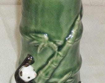 ON SALE Antique Vintage Majolica Panda Bear Bamboo Vase Porcelain