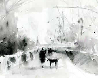 Original Print  Sam Walks a Dog..  Black and white