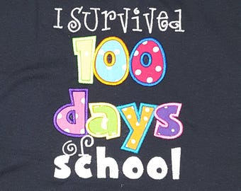 Boutique Custom Personalized Girls Boys I Survived 100 Day of School Shirt Spirit Teacher Adult