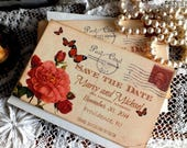 CUSTOM ORDER for Caryn Cox...Vintage Postcard Butterflies and Roses Wedding Save the Date Cards Handmade by avintageobsession