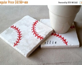 SALE Baseball Coasters - Personalized Father's Day Gift - Baseball Lover - Sports Home Decor - Man Cave Tile Drink Holders - Groomsmen Gift
