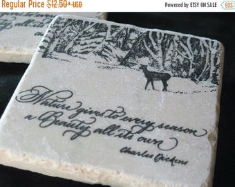 XMASINJULYSale Winter Morning Deer Tile Coasters - Chalet Decor - Cabin Absorbent Coasters - Holiday Gift