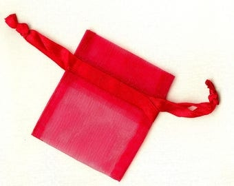 20 x bags ORGANZA red ❀ 5x6.25cm MAT0679 ❀