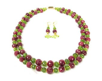 Faceted Peridot and Ruby Necklace with Matching Earrings - Gemstones and 22k Gold Vermeil