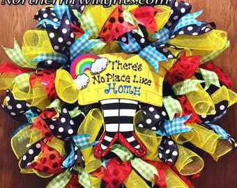 SALE & FREE SHIPPING There is No Place Like Home Wizard of Oz - Welcome Door Wreath