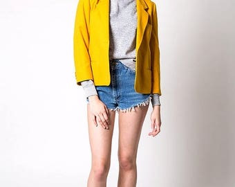 40% OFF CLEARANCE SALE The Vintage Mustard Yellow Wool Usa-Made Blazer Jacket