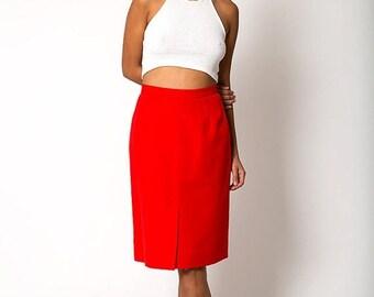40% OFF The Vintage Lipstick Red Midi-Length Skirt