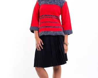 40% OFF The Vintage Red Color Block Mountain Sweater
