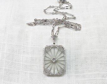 Art Deco Diamond Necklace in 14k Gold; Camphor Glass Boudoir Pendant On Sterling Silver Chain; 1920s  Vintage Bridal Necklace