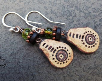 Tribal Rustic Neutral Earrings, Circle Design, Brown and Beige, Green Earthy Beads, Copper, Sheild Charms, Sterling Silver , Bohemian Style