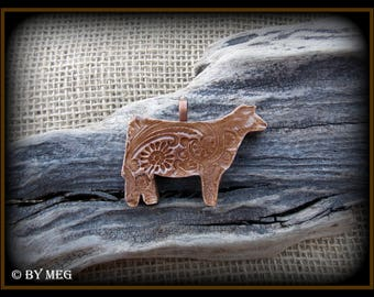 "Show Heifer, Steer, Cattle Jewelry, Kiln Fired Earthenware Pottery Ceramic Pendant Approx 2"" Wide"