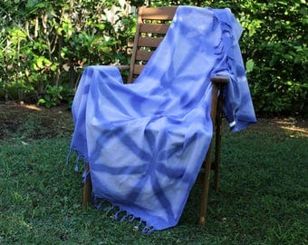 Shibori Beach Towel | Blue Shibori Bath Towel | Bohemian Towel | Throw Blanket | Indigo Organic Cotton Turkish Towel | Shibori Shawl