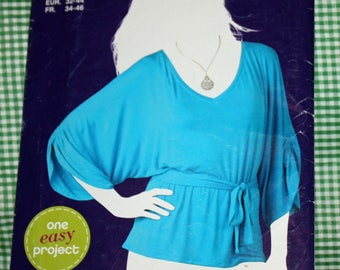"""Simplicity E1972 Sewing Pattern, Misses' Knit Top and Tie Belt, Misses' Size 6-18, Bust 30 1/2"""" to 40"""", UNCUT, FF"""