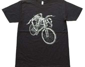 Spider on a Bicycle- Mens T Shirt, Unisex Tee, Tri Blend Tee, Handmade graphic tee, sizes xs-xxl
