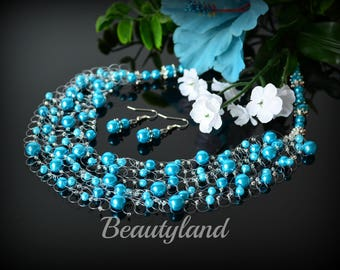 Turquoise bridesmaid necklace Turquoise blue pearl Necklace Set wedding necklace Crocheted necklace Turquoise Wedding Jewelry Multi strand
