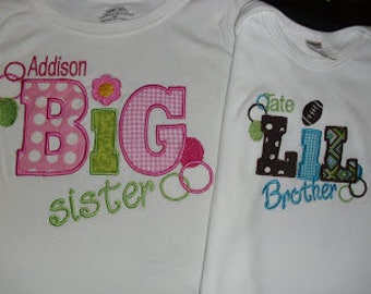 Big Sister and Little Bother Applique Set