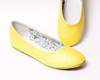 Glitter - Lemon Drop Yellow Ballet Flat Slipper Shoes