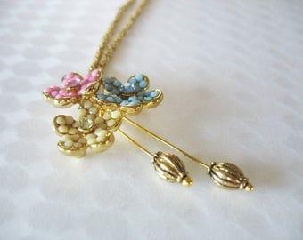 Flower Trio Pendant Necklace Yellow Pink Blue Rhinestones Dangle