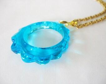 Lucite Teardrop Pendant, Aqua Blue, Lucite, Scalloped Edge, Greek Key Chain, Gold tone, Large Pendant, Unique