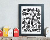 Animal Alphabet Limited Edition Print - ABC wall art for nursery and children's room decor