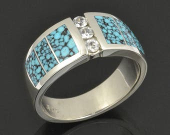 Man's Turquoise Wedding Ring with White Sapphires-  Turquoise Wedding Bands for Men - Spiderweb Turquoise Rings in Sterling Silver