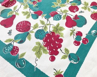 Vintage Tablecloth Mid Century Apples Pears Grapes Cherries Fruits Red Teal Green Picnic Cloth Barkcloth Fabric